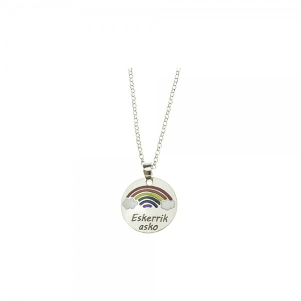 Colgante Arco Iris colores esmaltados Eskerrik Asko Idea regalo sanitarios, trabajadores, familiares...