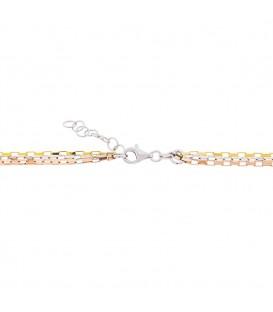 Collar Triple Cadena Plata, Plata Rosa y Plata Dorada
