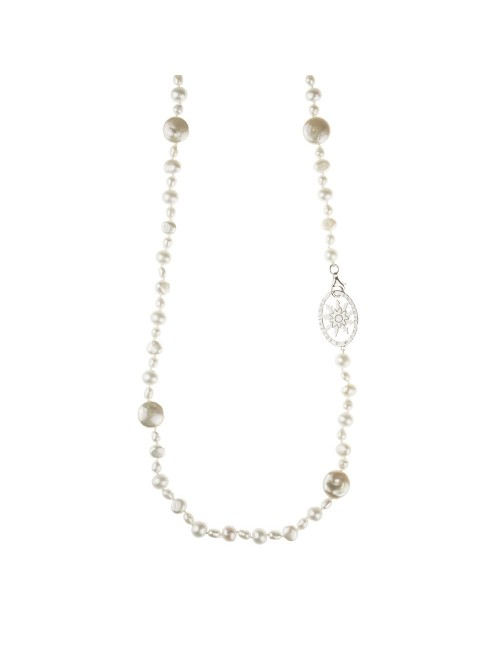 Collar Eguzkilore largo de Perlas Cultivadas