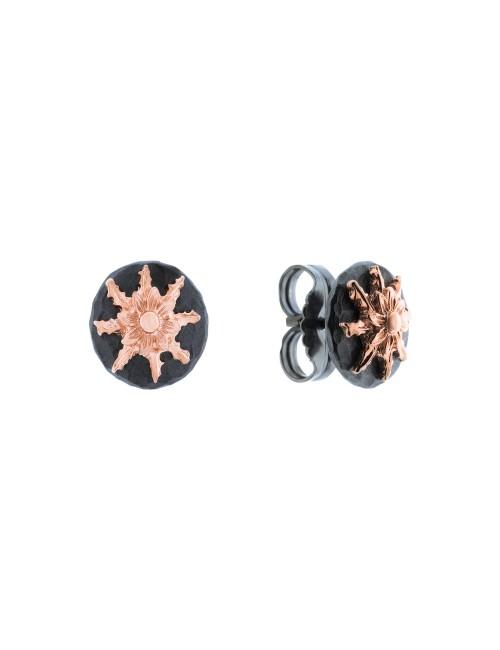 Pendientes R1 de plata negra y Eguzkilore rosa