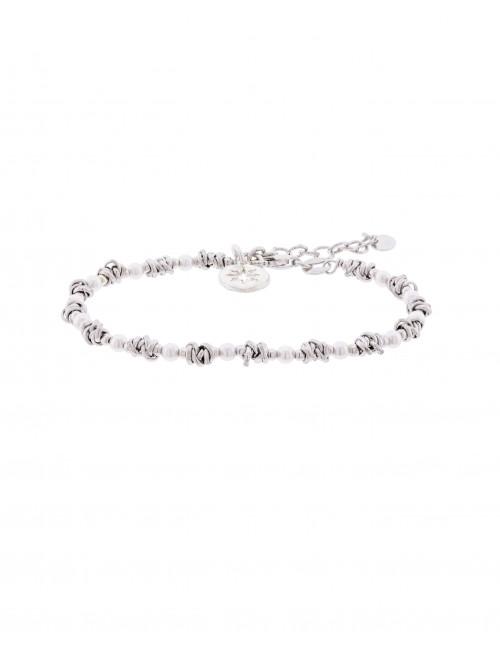 Pulsera Eguzkilore Besos y Abrazos con Perlas intercaladas de Plata