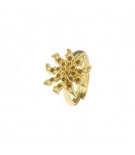 Anillo Pedrero Eguzkilore de plata dorada y cristales de Swarovski colores tierra