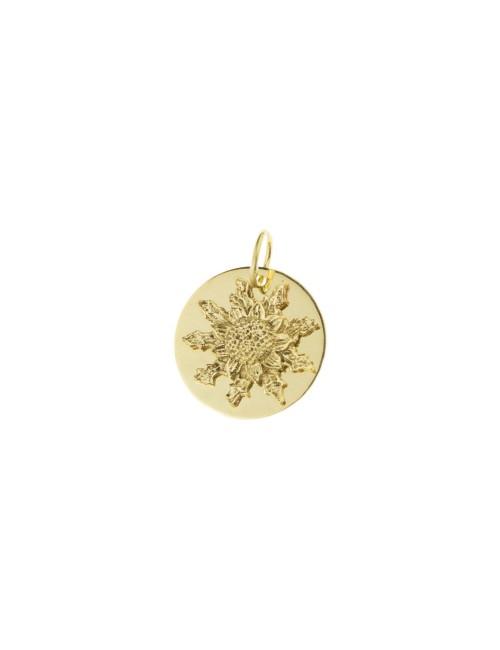 Medalla Eguzkilore 15mm de Oro Amarillo Personalizable