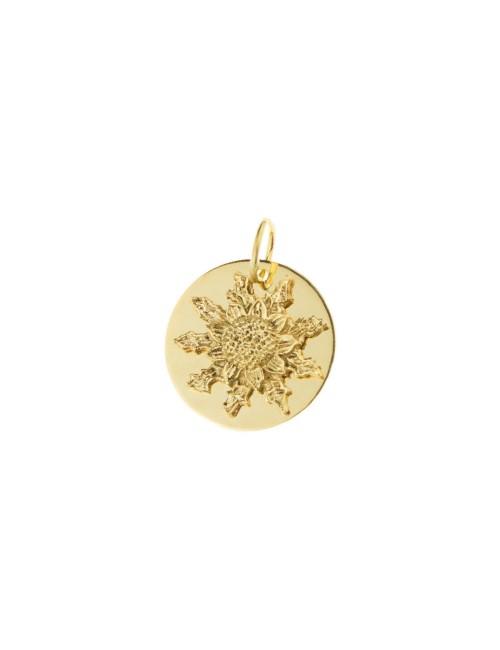 Medalla Eguzkilore 18mm de oro amarillo personalizable