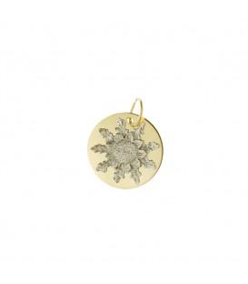Medalla Eguzkilore 15mm de oro bicolor