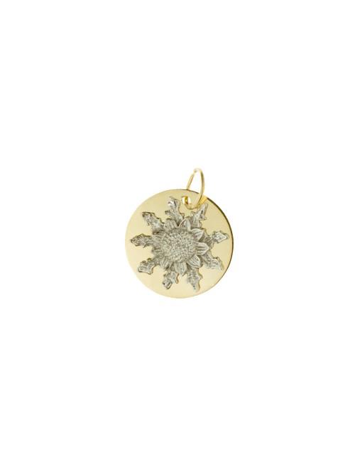 Medalla Eguzkilore 15mm de Oro Bicolor Personalizable