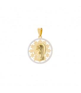 Medalla calada Virgen Niña 18mm de oro bicolor