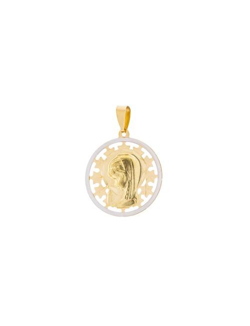 Medalla calada Virgen Niña 18mm de oro bicolor personalizable