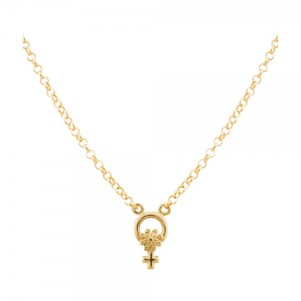 Collar mini Símbolo de La Mujer de plata dorada | Joya solidaria