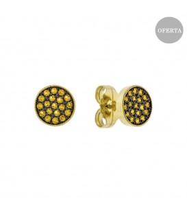 Pendientes Two de plata dorada y circonitas amarillas