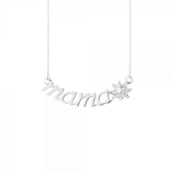 Collar Mamá de Oro Blanco con Diamante Joyerías Eguzkilore