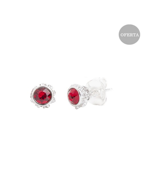 Pendientes Distira de plata y cristal de Swarovski rojo