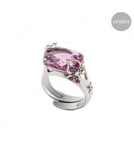 Anillo Mari Lore de plata y cristal de Swarovski rosa