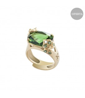 Anillo Mari Lore de plata dorada  y cristal de Swarovski verde