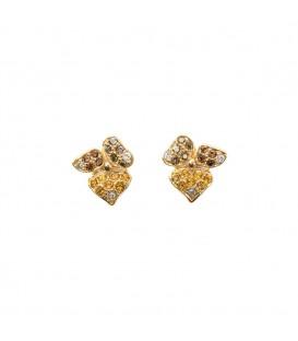 Pendientes Mari Lore de plata dorada y cristales de Swarovski marrones