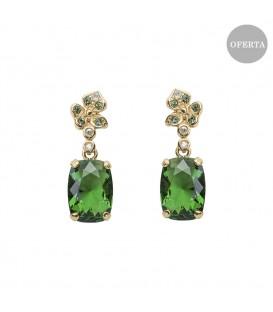 Pendientes Mari Lore de plata dorada y cristal de Swarovski verde