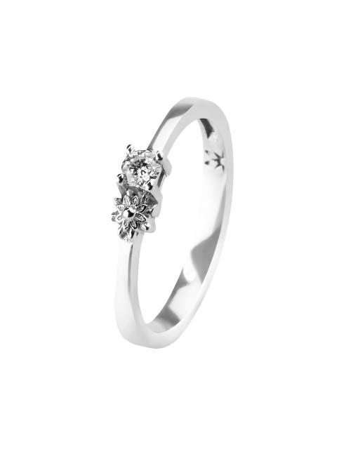 Sortija de Compromiso Eguzkilore de Oro Blanco con Diamantes y Eguzkilore