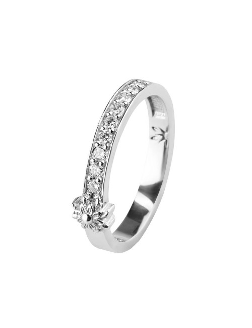 Sortija de Compromiso Eguzkilore en carril de Oro Blanco con Diamantes