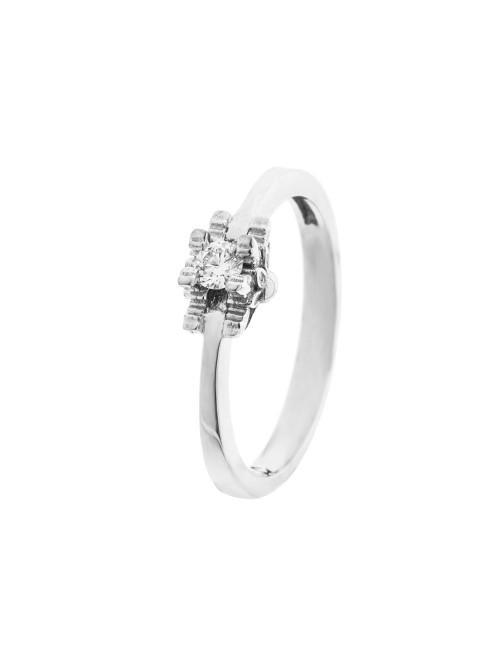 Sortija de Compromiso Eguzkilore de Oro Blanco con Diamante Engarzado