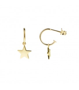 Pendientes Aro Estrella de plata dorada