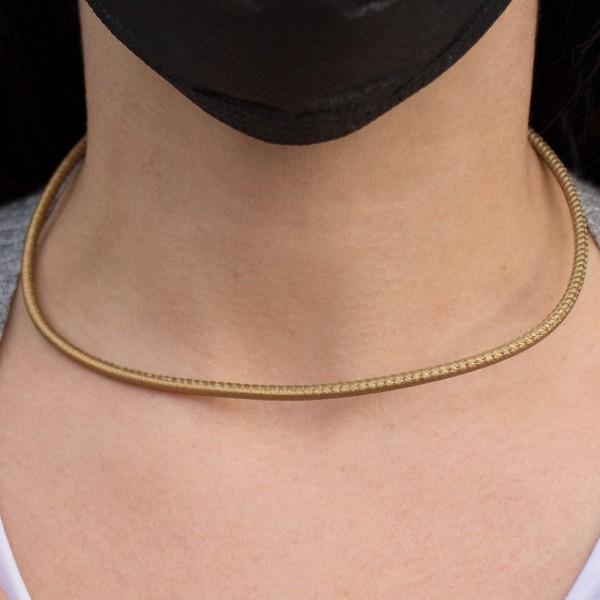 Cordón de Cuero Dorado Metalizado