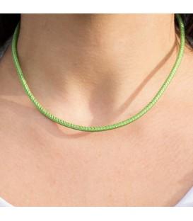 Cordón de Cuero Verde Metalizado