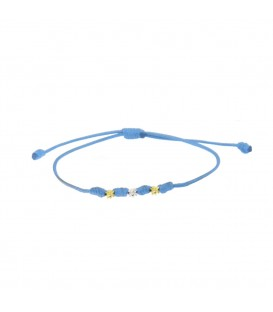Pulsera Mik de Cuerda Azul y Motivos Eguzkilore de Oro Joyerías Eguzkilore