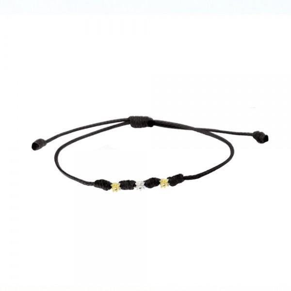 Pulsera Mik de Cuerda Negra y Motivos Eguzkilore de Oro Joyerías Eguzkilore