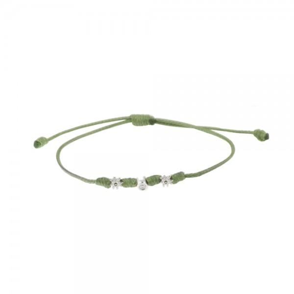 Pulsera Mik de Cuerda Verde con Motivos Eguzkilore de Oro y Diamante Joyerías Eguzkilore