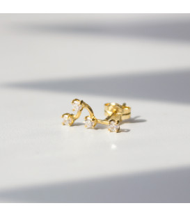 Pendiente mini trepador de Oro con Circonitas Blancas de Eguzkilore.