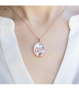Colgante Ama Oval Rosa Circonitas Joyerías Eguzkilore