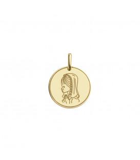 Medalla Virgen Niña 15mm de Oro Amarillo Joyerías Eguzkilore
