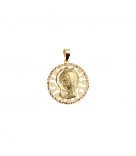 Medalla Calada Virgen Niña 18mm de Oro Amarillo Joyerías Eguzkilore