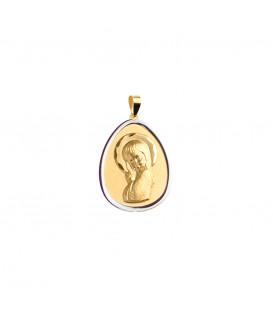 Medalla oval Virgen Niña de Oro Bicolor Joyerías Eguzkilore