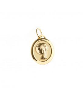 Medalla Oval Virgen Niña de Oro Amarillo Joyerías Eguzkilore