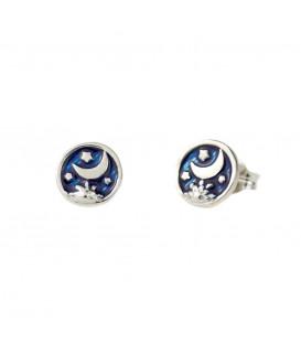 Pendientes de Plata con Esmalte Azul y Luna Joyerías Eguzkilore