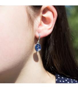 Pendientes de Plata Dorada con Esmalte Azul y Luna de Cripa Joyerías Eguzkilore